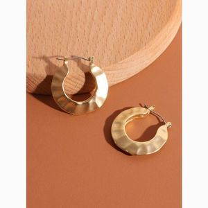 Metal Gold Wide Shell Indented Hoop Earrings